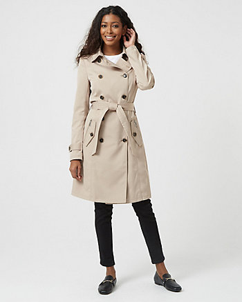 f5b27e429fb Cotton Blend Double Breasted Trench Coat