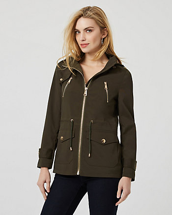 Viscose Blend Hooded Anorak Jacket