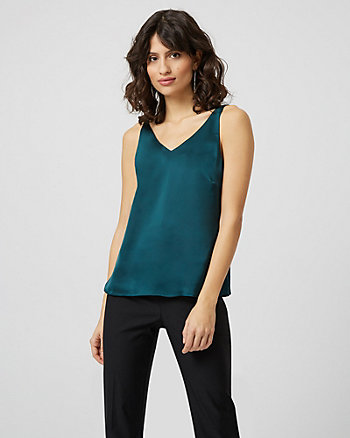 Satin V-Neck Sleeveless Blouse