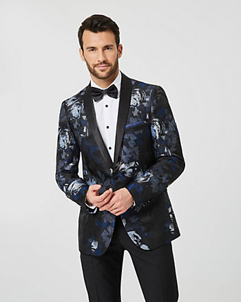Floral Print Viscose Blend Slim Fit Blazer
