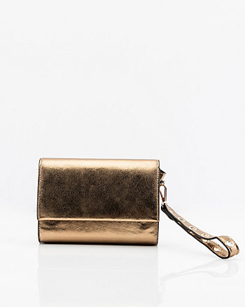 Metallic Faux Leather Clutch