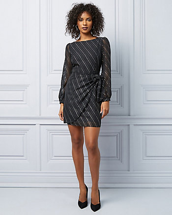 Foil Dot Chiffon Long Sleeve Cocktail Dress