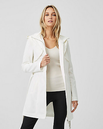 Cotton Blend Funnel Neck Hooded Trench