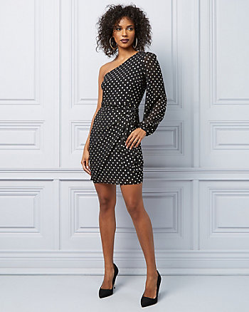 Foil Dot Chiffon One Shoulder Cocktail Dress