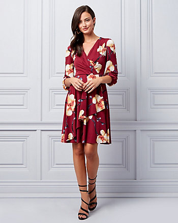 Floral Print Knit Crêpe Wrap-Like Dress