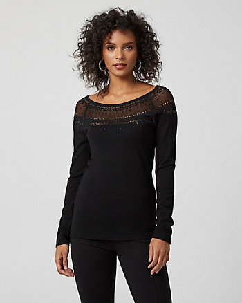 Embellished Viscose Blend Sweater