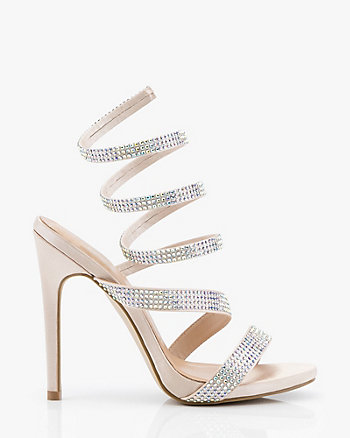 1038564027ca Jewel Embellished Satin Strappy Sandal