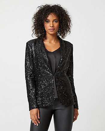 Sequin Notch Collar Blazer