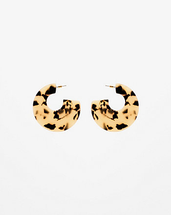 Tortoise Half Moon Hoop Earrings