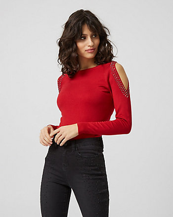 Embellished Viscose Blend Cold Shoulder Sweater
