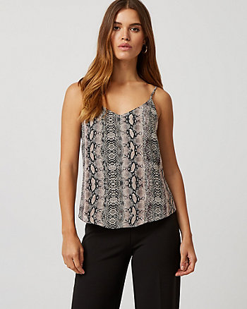 Layered Snake Print Chiffon Scoop Neck Camisole