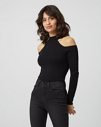 Cold Shoulder Mock Neck Sweater