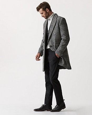 Glen Check Wool Blend Topcoat