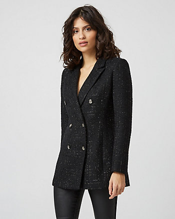 Metallic Bouclé Double Breasted Blazer