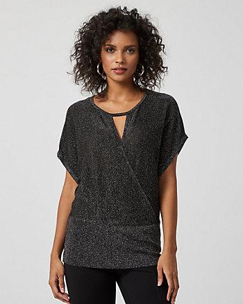 Metallic Knit V-Neck Cutout Sweater