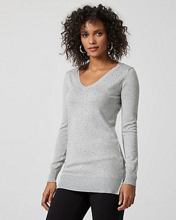 Embellished Knit V-Neck Sweater