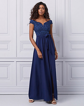 Crêpe de Chine & Lace Off-The-Shoulder Gown
