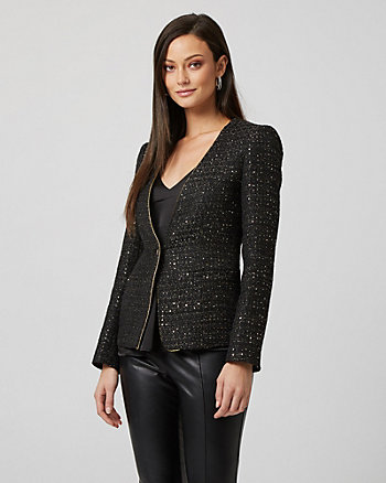 Sequin Bouclé Collarless Blazer