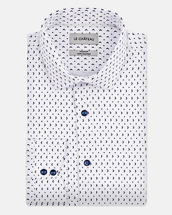Geo Print Cotton Blend Athletic Fit Shirt