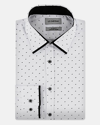 Tonal Dot Print Cotton Blend Tailored Shirt
