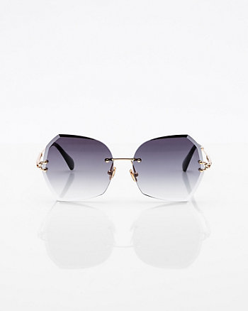 Round Diamond Cut Rimless Sunglasses