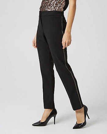 Knit Crêpe Straight Leg Piped Pant