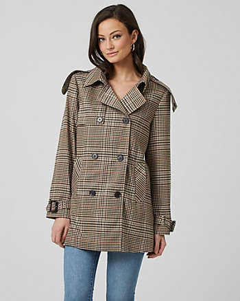 Glen Check Double Breasted Trench Coat