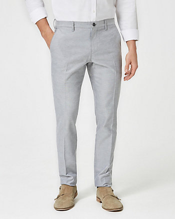 Tonal Oxford Cotton Slim Leg Pant