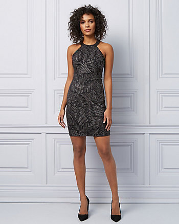 Metallic Knit Halter Neck Cocktail Dress