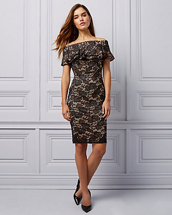 Lace Off-the-Shoulder Ruffle Cocktail Dress