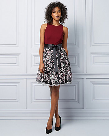 Embroidered Fit & Flare Cocktail Dress