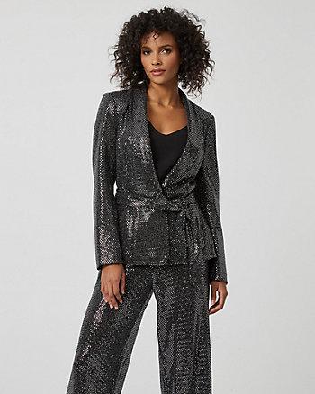 Metallic Knit Belted Blazer