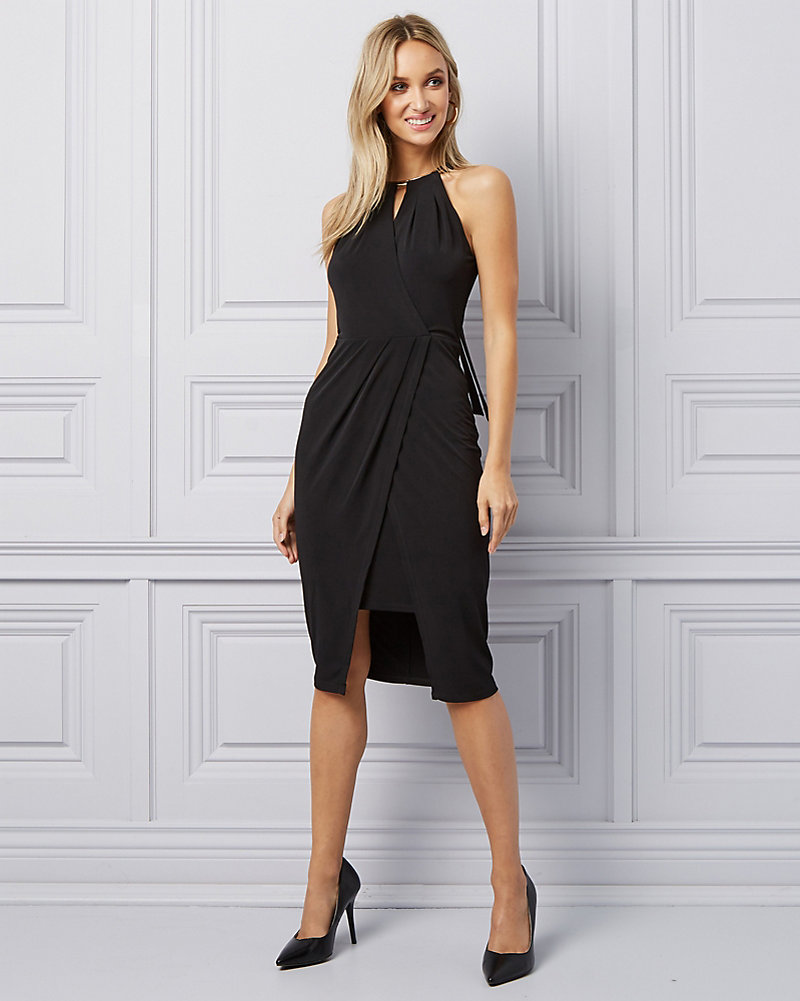 aa2fd602a27dc Knit Halter Neck Cocktail Dress | LE CHÂTEAU