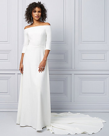Bengaline Off-The-Shoulder Gown