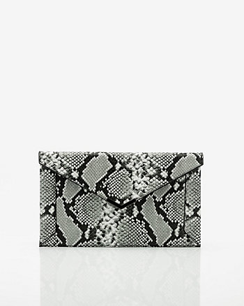 Snake Embossed Faux Leather Envelope Clutch
