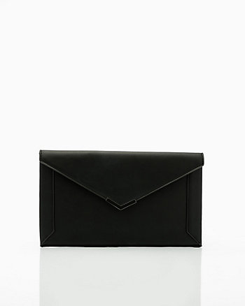 Faux Leather Flapover Envelope Clutch