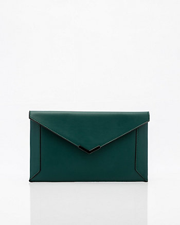 Leather-Like Flapover Envelope Clutch