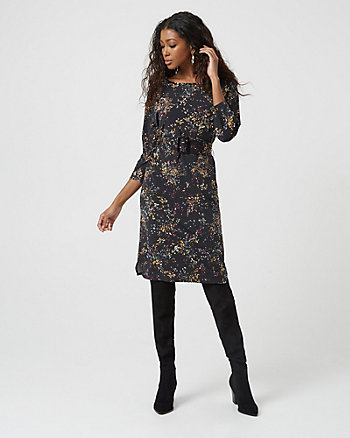 Floral Print Knit Belted Tunic Dress