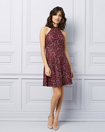 Lace Fit & Flare Halter Cocktail Dress