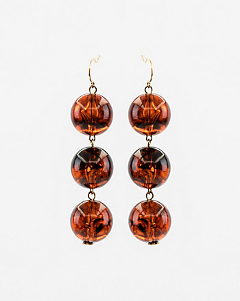 Tortoise Beaded Ball Drop Earrings
