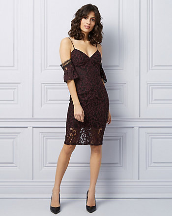 Lace Cold Shoulder Cocktail Dress