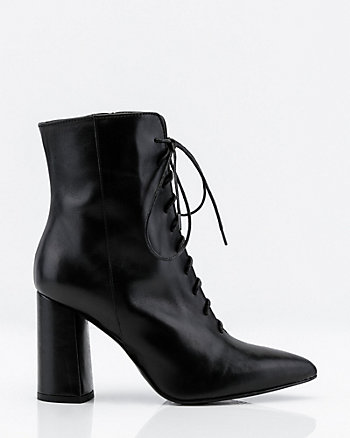 Italian-Made Leather Lace-Up Ankle Boots