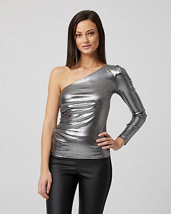 Haut asymétrique en tricot métallisé
