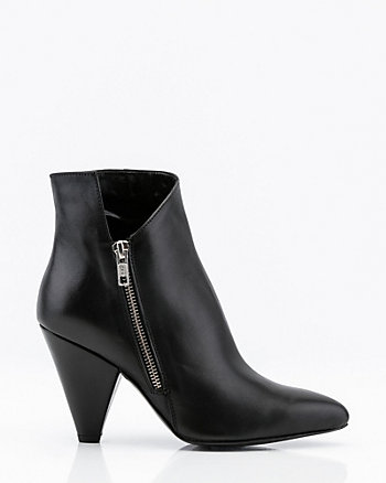 Italian-Made Leather Cone Heel Ankle Boots