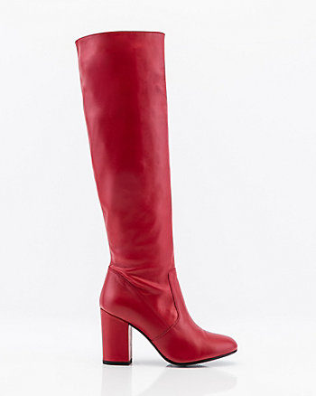 Italian-Made Leather Knee High Boot