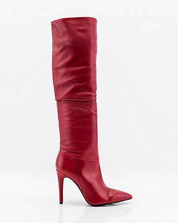 Italian-Made Leather Knee High Slouch Boot