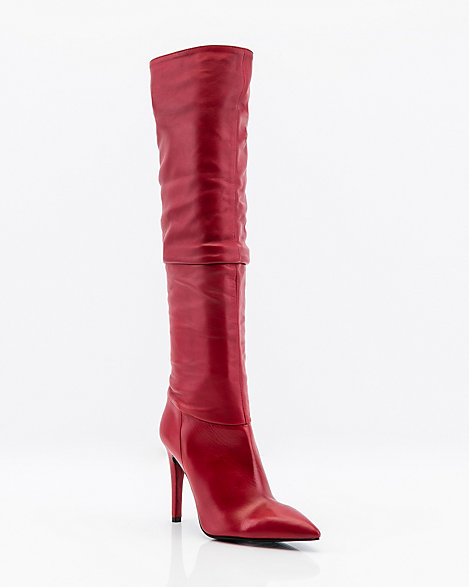 954e7275e08 Italian-Made Leather Knee High Slouch Boot