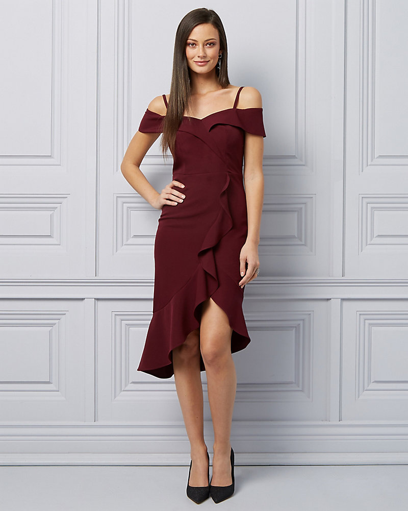 b509784dbb Twill Cold Shoulder Ruffle Cocktail Dress