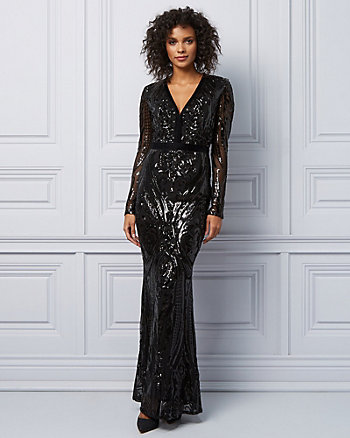 Mesh & Sequin Deep V Gown