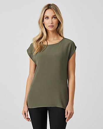 Viscose Blend Crew Neck Blouse